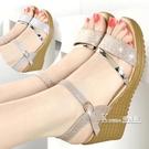 新款春夏季女鞋平底厚底楔形涼鞋女高跟鞋粗跟防滑魚嘴學生鞋子