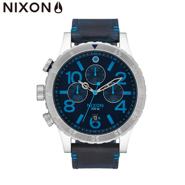 NIXON手錶 原廠總代理A363-2219 THE 48-20 Chrono Leather 藍色 潮流時尚皮錶帶 男女 運動 生日情人節禮物