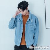 【OBIYUAN】 單寧夾克 外套 刷破 排釦 牛仔外套 共1色【Y0611】