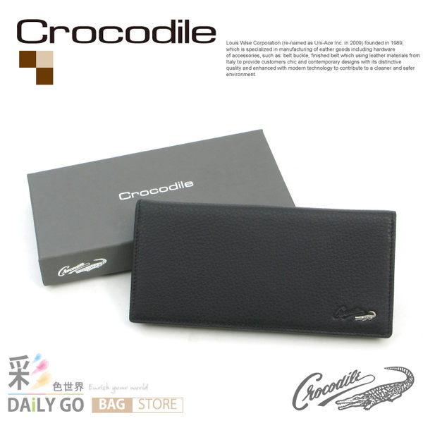 Crocodile鱷魚皮夾真皮長夾男夾皮包-長皮夾0103-07401-01黑
