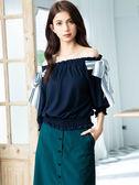秋裝上市[H2O]可露肩兩穿側邊復古條紋雪紡大蝴蝶結針織上衣 - 紅/藍/白色 #9651005