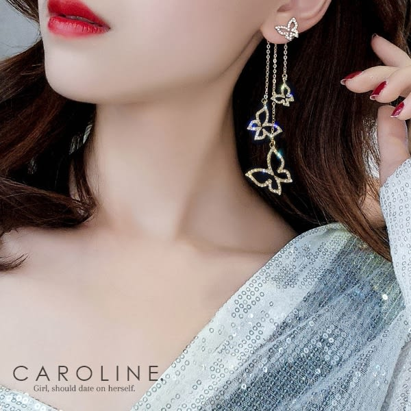 《Caroline》★韓國熱賣不對稱蝴蝶耳環  甜美浪漫風格時尚流行耳環70050