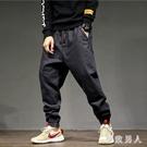 寬鬆哈倫褲 牛仔褲男迷彩拼色大碼緊腰闊腿收口胖子褲LXY4366【極致男人】