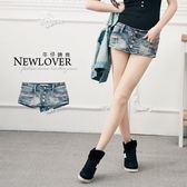 超短褲裙NEW LOVER牛仔時尚【111-5564】低腰小尻斜排釦翹臀M-L