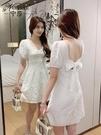 方領洋裝 2021年夏季韓版新款時尚修身顯瘦小眾短裙氣質露背蝴蝶結連身裙女 晶彩 99免運