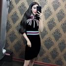 秋裝新款女裝韓版氣質立領拉鏈撞色繡花修身顯瘦包臀裙針織裙