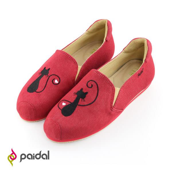 Paidal貓咪剪影電繡休閒鞋樂福鞋懶人鞋-熱力紅
