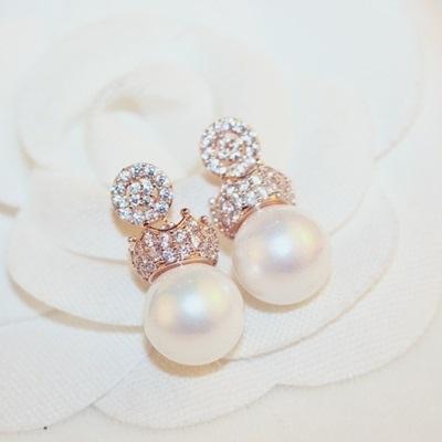耳環 玫瑰金純銀鑲鑽-皇冠流行生日情人節禮物女飾品73ca236【時尚巴黎】