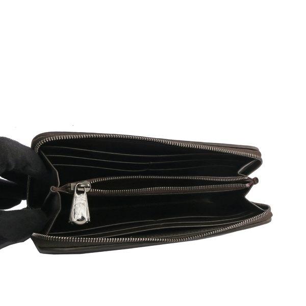 【BOTTEGA VENETA】牛皮編織ㄇ型拉鏈長夾(薄款)(栗子色) 510643 V4651 2006