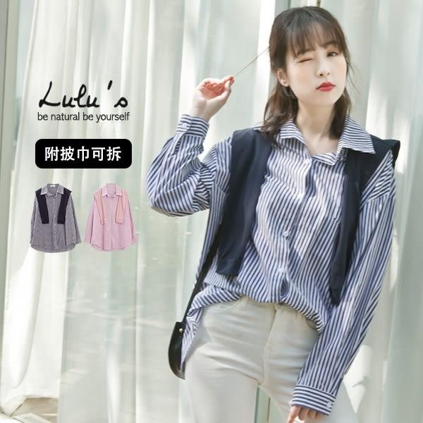 LULUS-Y白釦直紋口袋襯衫-附披巾-2色  現+預【01032285】
