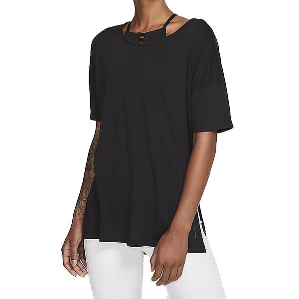 NIKE NY DF LAYER SS TOP 黑 女 長版 素色 寬鬆 運動 休閒 短袖 T恤 CJ9327010