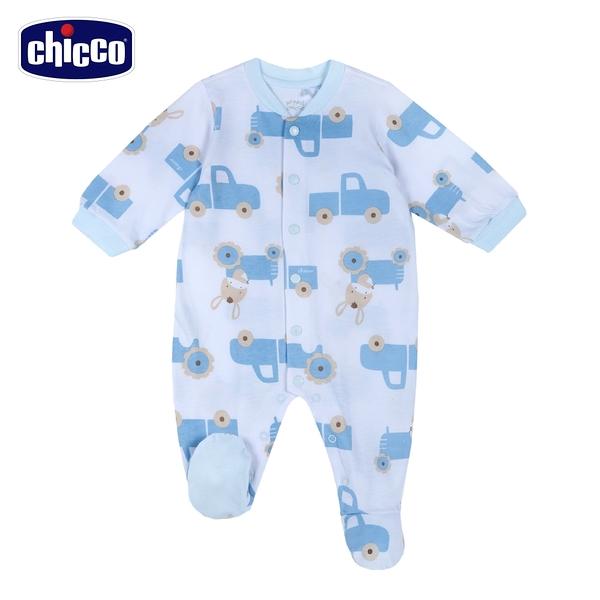 chicco- 粉彩-汽車滿版印花前開長袖兔裝-藍色