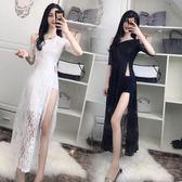 夏裝韓版性感開叉蕾絲中袖修身顯瘦氣質夜店長裙禮服仙女神潮 卡布奇诺