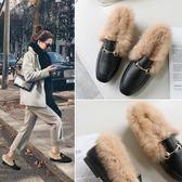 新年鉅惠2018秋冬季新款兔毛毛鞋CHIC平底單鞋方頭女鞋穆勒鞋女 豆豆鞋 挪威森林