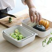 掛壁式加厚洗菜瀝水籃廚房創意塑料淘菜籃家用鏤空收納水果盤 初見居家