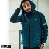 『潮段班』【PD000511】美式風格 反光條 束口 防水防風連帽外套 風衣外套