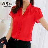 短袖襯衫新款韓范襯衣修身大尺碼短袖休閒白色雪紡衫襯衫女裝