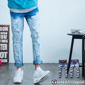 九分牛仔褲【F99053】OBIYUAN 漸層刷色破壞抽鬚單寧褲共1色