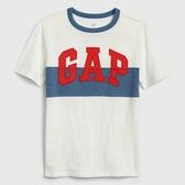 Gap男童撞色條紋徽標短袖T恤539649-光感亮白