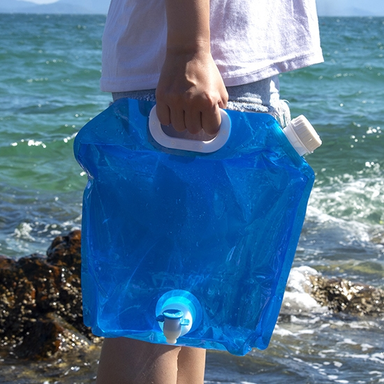 水袋 儲水袋 塑料袋 裝水袋 升級5L 蓄水 折疊袋 登山 加龍頭 旅行 折疊手提儲水袋【R047】慢思行