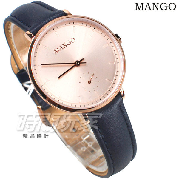 MANGO 浪漫優雅城市 小秒盤 女錶 防水手錶 學生錶 藍寶石水晶 不銹鋼 玫瑰金x藍色 MA6722L-RG