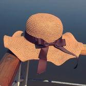 現貨-草帽女韓版學院風蝴蝶結手工勾織遮陽帽子逛街荷葉邊大沿太陽帽