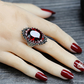 戒指 日韓複古假寶石戒指紅石榴首飾簡約誇張黑礦裝飾指環小 設計潮人