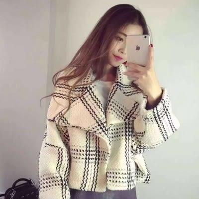 毛呢大衣 短款-時尚韓版格子個性女風衣外套2色73ki35[巴黎精品]