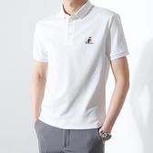 男士短袖T恤快干POLO衫男夏季韓版修身翻領刺繡T恤純色上衣潮 有緣生活館