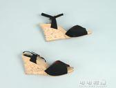 坡跟  中空 一字式扣帶 露腳背 春夏 時尚百搭 大碼涼鞋女 可可鞋櫃