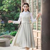 洋裝女裝新品修身無袖小鳥繡花連身裙學生中長打底裙【幸福家居】