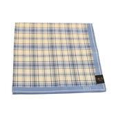 DAKS 純棉格紋男用帕巾(藍色)