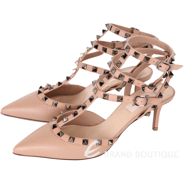 VALENTINO ROCKSTUD 三環鉚釘繫帶粒紋牛皮尖頭低跟鞋(裸色) 1640186-E2