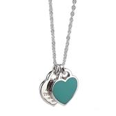 【奢華時尚】Tiffany 心心相映迷你吊牌墜飾925純銀藍瓷項鍊