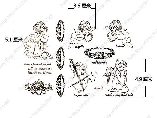 薇嘉雅       紋身貼紙  天使寶貝 英文字母 K013