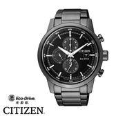 CITIZEN星辰錶 CA0615-59E 光動能黑面黑鋼三眼計時 43mm |名人鐘錶高雄門市