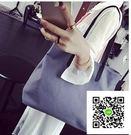 韓版新款單肩包夏簡約百搭潮女大包中包中性款休閒帆布手提包