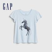 Gap女幼創意風格印花短袖T恤573464-獨角獸圖案
