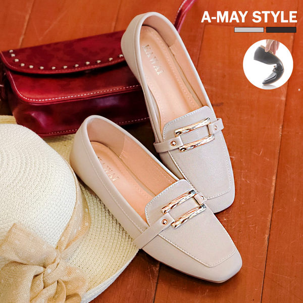 紳士鞋-方頭金屬釦飾低跟包鞋