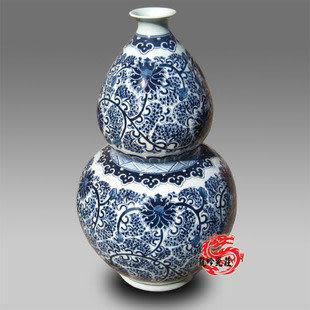 手繪青花瓷 工筆劃明清 大號葫蘆瓶 高55CM