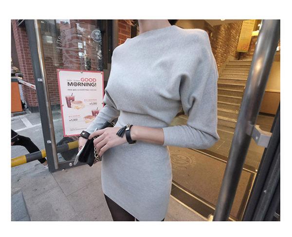 裙子 性感一字領蝙蝠袖收腰包臀連身裙 艾爾莎【TGK2993】
