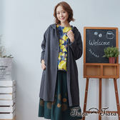 【Tiara Tiara】棉質連帽長袖單釦長版罩衫外套(藍/灰)