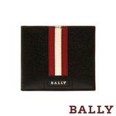 【台中米蘭站】全新品 BALLY TONETT 防刮牛皮紅白條紋短夾 (6218019-黑)