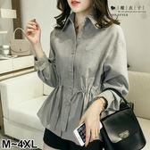 【QV2642】魔衣子-簡單口袋造型抽繩收腰長袖襯衫