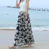 碎花闊腿褲裙海邊度假九分沙灘褲雪紡長褲