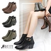 B-20760 女款粗跟短靴 台灣製經典後拉鍊中粗跟短靴【PRETTY】
