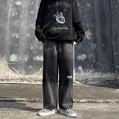牛仔褲 韓版復古暗黑系原宿扎染黑色印花字母直筒闊腿牛仔褲子女 交換禮物