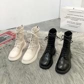短靴馬丁靴女ins潮新款白色百搭英倫風秋冬季瘦瘦單靴春秋短靴 阿卡娜