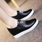 快速出貨內增高女鞋小白鞋春夏韓版女學生休閒鞋厚底單鞋鬆糕一腳蹬懶