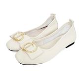 MICHELLE PARK 氣質 ‧ 柔軟牛皮水鑽飾扣包鞋-米白